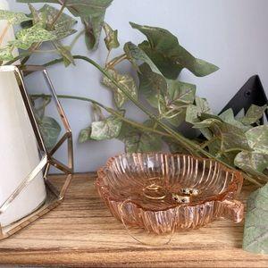 Trinket Dish Glass Tray Leaf Pink Tint Vintage